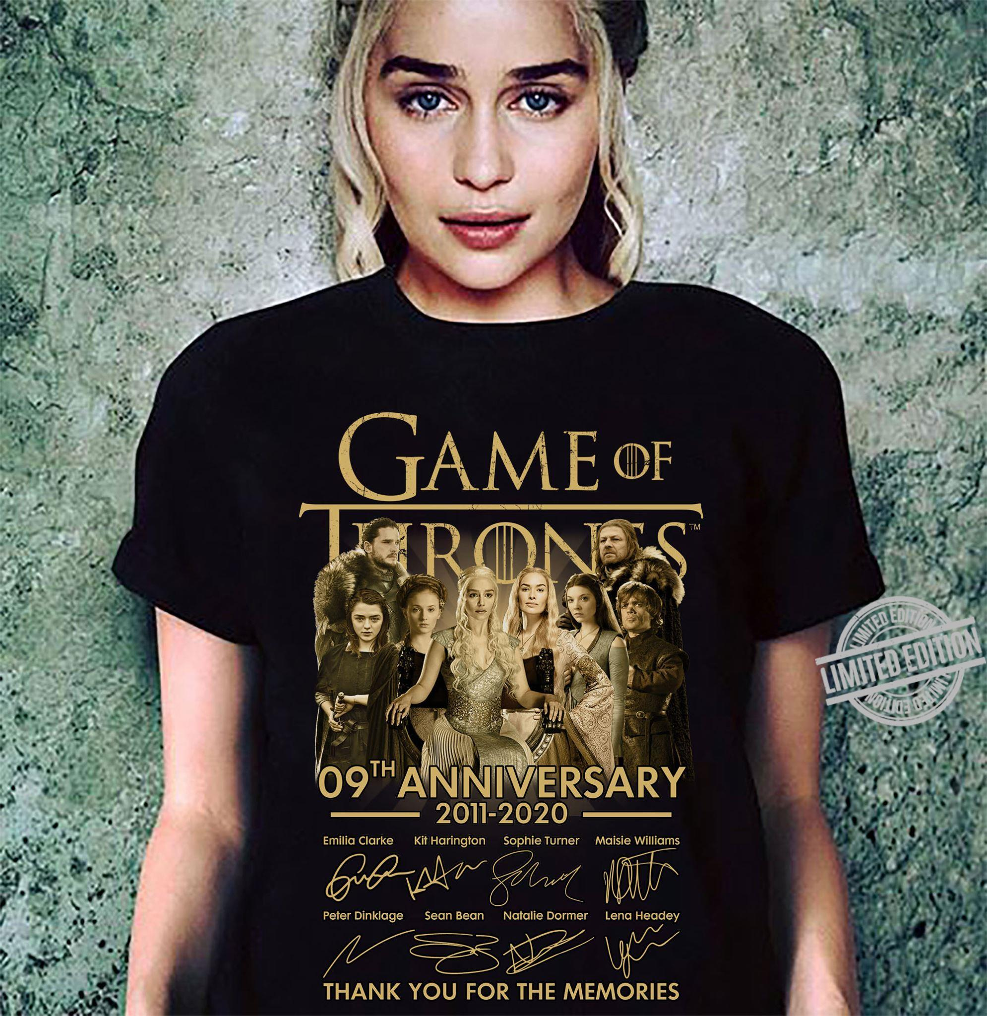 Game Of Thrones 09th Anniversary 2011 2020 Thank You For The Memories Shirt